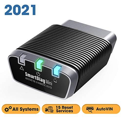 TT TOPDON SmartDiag Mini OBD2 - Escáner de diagnóstico de Coche Bluetooth con Todos los diagnósticos del Sistema, 16 Servicios de reinicio y Mantenimiento, Todas Las Funciones OBD2, AutoVIN
