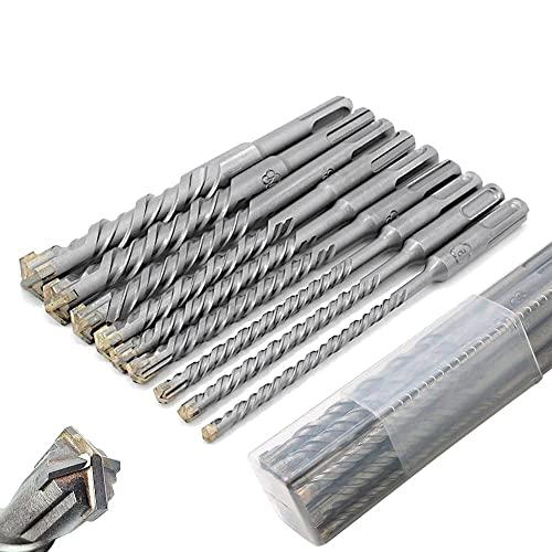 SDS Plus Bohrer Set-Hammerbohrer für Beton mit 4 Schneiden in den Größen 5,6,6,8,8,10,12,14,16 x 160mm- LOSTTYPE für Beton und Mauerwerk