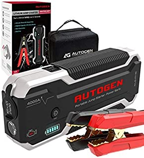 AUTOGEN Car Jump Starter PRO 4000A Peak (10.0L+ Gas & Diesel), 12V Portable Lithium Battery Jumper Box Booster Pack for Cars, SUVs, Trucks. Huge Power Bank with Quick Charge 3.0