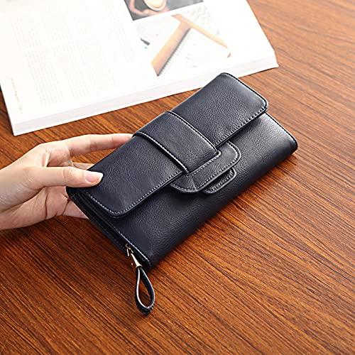 Portafoglio lungo da donna europeo e americano in stile coreano fibbia multi-card slot portafoglio da donna di grande capacità portafoglio-blu scuro