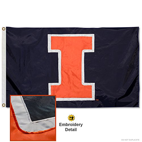 College Flags & Banners Co. University of Illinois Embroidered and Stitched Nylon Flag
