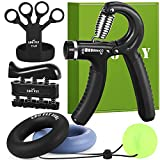 Hand Grip Strengthener - Grip Strength Trainer with Adjustable Hand Gripper, Upgraded Finger Stretcher, Grip Ring (3.5 In) and Stress Relief Ball - Hand Exerciser for Athletes, Rehab, Therapy & Guitar