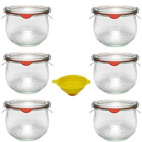 Viva Haushaltswaren - 6 x kleines Weckglas/Einmachglas 500 ml mit Deckel in in Tulpenform, leeres Rundrandglas zum Einkochen - als Vorspeisenglas, Dessertglas (inkl. Klammern, Ringen & Trichter)
