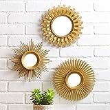 Better Homes and Gardens 3-Piece Sunburst wall Mirror Set, gold