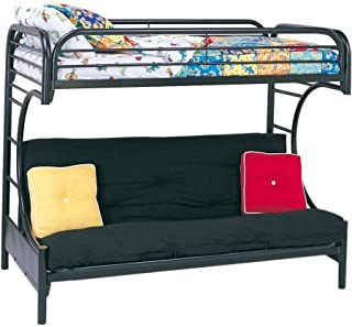 Sturdy Eclipse Twin Over Full Futon Bunk Bed,includes Guard rails,Easy to Assemble,in Multiple Colors (Black)