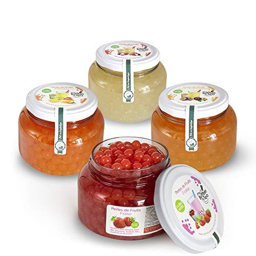 Popping Boba Original para Bubble Tea - 4X450g - Fresa, Pasión, Mango, Lichi
