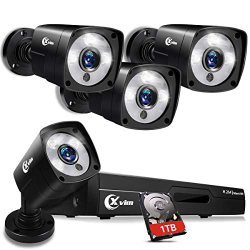 XVIM 1080P Full Color Night Vision 8CH Home Security Camera System, 4PCS 1080P HD Cameras with 1TB Hard Drive Night Vision Easy Remote Access Motion Alert