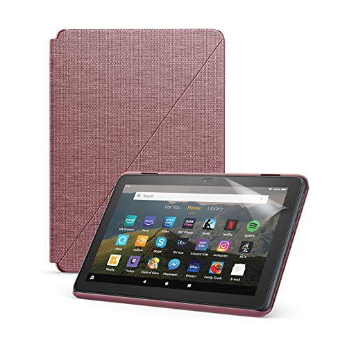 Fire HD 8 tablet (32 GB, Plum, with Ads) + Amazon Standing Case (Plum) + NuPro Screen Protector (2-Pack)