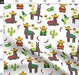 Grün, Mexiko, Alpakas, Sombrero Stoffe - Individuell