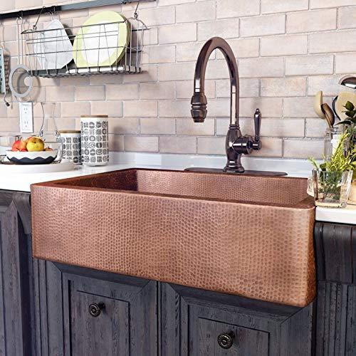 Sinkology K1A-1004ND-AMZ Adams Handmade 33 CareIQ Kit Farmhouse, Apron-Front, Kitchen Sink, Single Bowl, Antique Copper