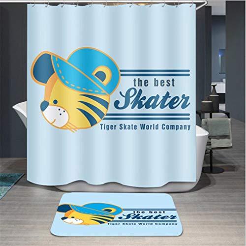 Baisheng Waterproof Mold Proof Resistant Bad Vorhang Waschbar Duschvorhang Polyester Stoff 3D Mehltau Beweis Vorhang (Hut Tiger-47 * 70Inch/120 * 180cm)