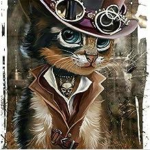 Diamond Painting,5D Full Suqare Diamond Painting Cartoon Full Round Drill Diamond Accessories Cat Cowboy Mosaic Picture of...