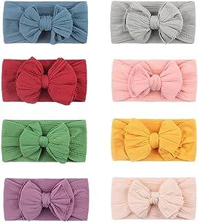 8pcs Baby Nylon Headband Elastic And Soft Double-layer Bow Headband Set Girls Hair Accessories