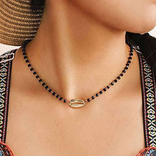 Kercisbeauty gouden schelp met zwarte kralen Choker ketting voor vrouwen en meisjes strand accessoires vakantie sieraden