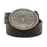 Ariat Boy's Embossed Oval Shield Buckle Belt (Little Kids/Big Kids) Tan 22' Waist