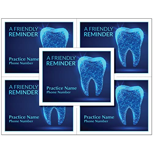 4 Up Laser Reminder Postcards for Dental. Personalized Front for Your Practice. 4 Cards Perforated for Tear-Off at 4.25