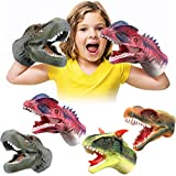 Geyiie Kids Puppets Toys, Dinosaur Hand Puppets Soft Rubber Realistic Dino Head Glove, Tyrannosaurus, Dilophosaurus, Rajasaurus, Carnosaur Puppet Toys for Kids Boys Girls, Party Favor Gift, 4 Pack