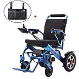 ASZX Silla de Ruedas eléctrica Plegable de 25 kg con Bolsa de Almacenamiento, Ayuda automática de Movilidad Ligera, energía eléctrica o manipulación Manual Wheelchai para Ancianos