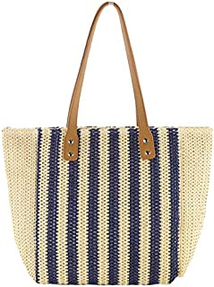 SODIAL New Paper Rope Striped Straw Bag Fashion Large Capacity Woven Bag Single Room Casual Beach Handbag Blue