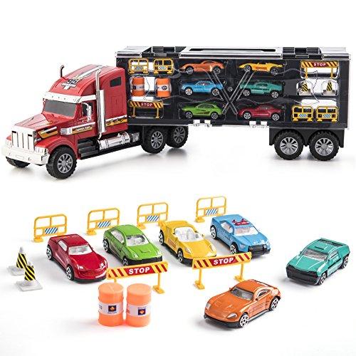 Prextex Camion Giocattolo 61 cm Rimorchio Removibile Trasportatore con Ruote in Gomma e 6 Auto Giocattolo Gioco per Bambini e Bambine