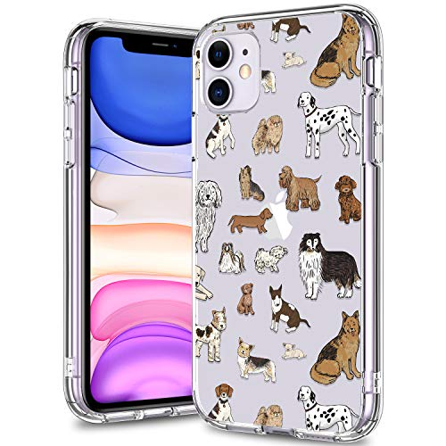 BICOL iPhone 11 Case Clear with Design for Girls Women,12ft Drop Tested,Military Grade Shockproof,Slip Resistant Slim Fit Protective Phone Case for Apple iPhone 11 6.1 inch 2019 Various Dogs