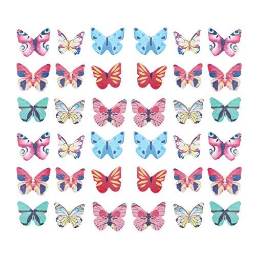 YeahiBaby 120PCS Wafer Paper Butterflies Mariposa Comestible Cake y Primeros de la Magdalena decoración de la Torta Color clasificado