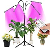 Grow Lights for Indoor Plants, LED Grow Lights with Stand, 4 Head 80 LED Indoor Plant Lights Red Blue White Full Spectrum Grow Lamp, Adjustable Tripod, Auto On/Off, 4/8/12H Timer, Dual Controller