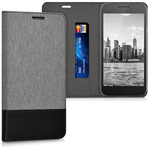 kwmobile Hülle kompatibel mit Motorola Moto G4 Play - Stoff Handy Schutzhülle - Flip Cover Hülle Grau Schwarz