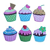 Bang 6 Stück Eiscreme Kuchen Serie Stoff Stickerei Bügeln