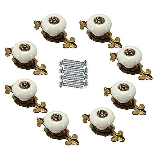 FBSHOP(TM) 8 stks Retro Keramische Knoppen/Handgrepen/Trekken met Zink legering Basis voor Keuken Kasten ,Kasten, Kledingkast,Lade,Dressoir,Sluiting,Boekenkast,Barkast etc Vintage DIY Home Decoratieve . (Bronzen+Wit)