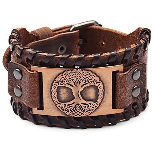 LH&BD Vikingo Árbol de la vida pulsera de cuero de metal, amuleto ajustable, pulsera, joyería vintage para hombre, marrón