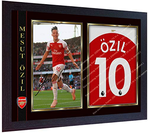 S&E DESING Mesut Ozil signiertes Autogramm Arsenal Foto Druck Fußball Mesut Özil gerahmt