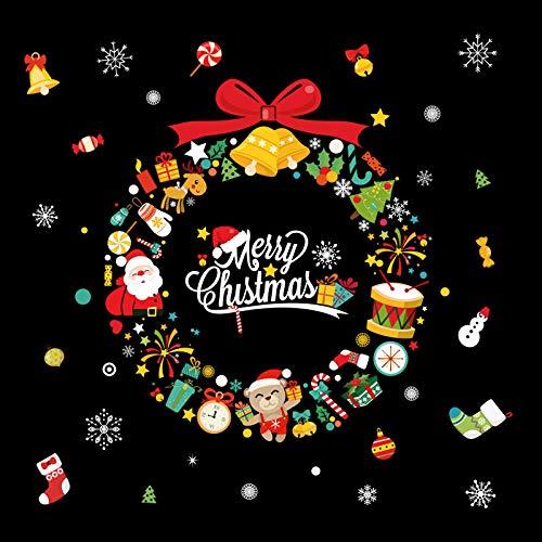 Calcomanías De Pared Decoraciones Navidades, centros comerciales, escaparates, adhesivos murales de cristal, Año Nuevo, Vacaciones, Pintura Autoadhesiva removible