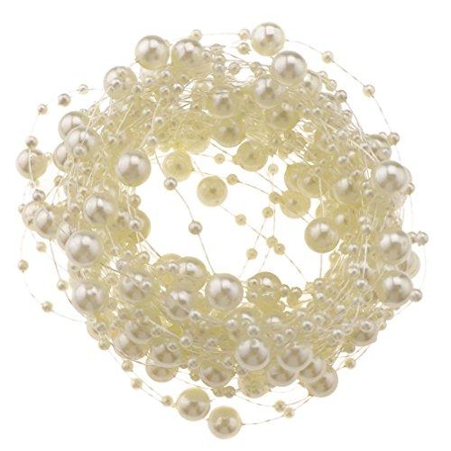 10m Off-White Acrylic Bead Pearl String Tie Garland Wedding Bridal Bouquet Decor
