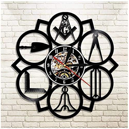 Reloj de Pared de Vinilo Herramientas de albañilería Reloj de Pared con Disco de Vinilo Regalo Creativo Niños y niñas Adolescentes Amigos Diseño de Arte único Reloj de Pared de Vinilo 12 Pulgadas