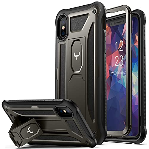 YOUMAKER [2021 Upgraded] iPhone Xs Case/iPhone X Case, Kickstand Case with Built-in Screen Protector for iPhone Xs/X 5.8 Inch - Gun