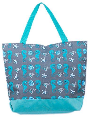 AIREE FAIREE Strandtasche Damen Einkaufstasche Schultertaschen 45 x 35 cms mit reißverschluss Seepferdchen (Seepferdchen und Muschel blau)