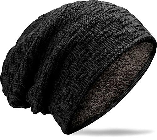 MUCO Wintermütze Herren Damen Beanie, Unisex Winter warme gestrickte Slouch Beanie mütze, Futter Schädel für Männer Frauen