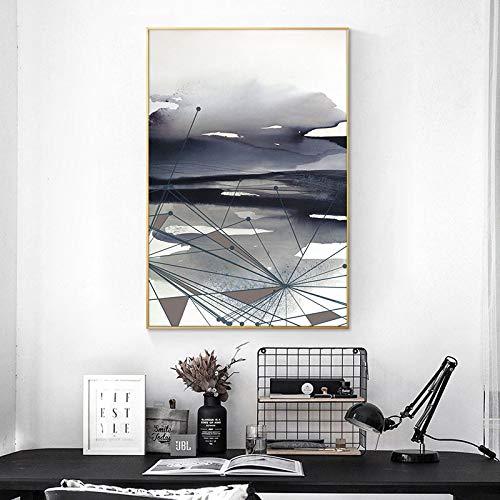 YuanMinglu Abstrakte Kunst Ölgemälde Leinwanddruck Poster und Wanddruck Coole Linie Bild Wohnzimmer Wohnkultur rahmenlose Malerei 60X90cm
