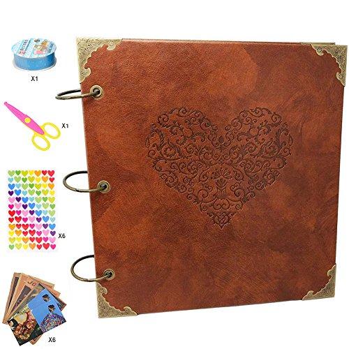 Guwheat Scrapbook Album, Leder Fotoalbum Retro Album Hochzeit Gästebuch DIY Vintage Scrapbook Schwarze Seiten Fotobuch, für Geburtstags Jahrestag Geschenk