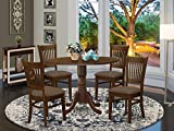 East West Furniture DLVA5-ESP-C 5-Pc kitchen dining table set Espresso finish- Two 9-inch Drops Leave and Pedestal Legs small dining table & 4 Slatted Back wooden chairs