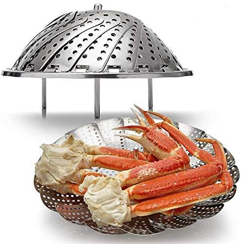 Panier à vapeur pour aliments Vapeur de légumes en acier inoxydable 18/8, Insert de panier pour cocotte-minute repliable, Extensible pour s'adapter à différentes