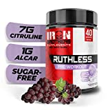 Iron Brothers Ruthless Preworkout Powder Supplement for Men & Women - Creatine Free - Sustainable Performance Energy & Workout Focus, Superhuman Pre Workout - 40 Serve - Nitric Oxide Booster - Grape