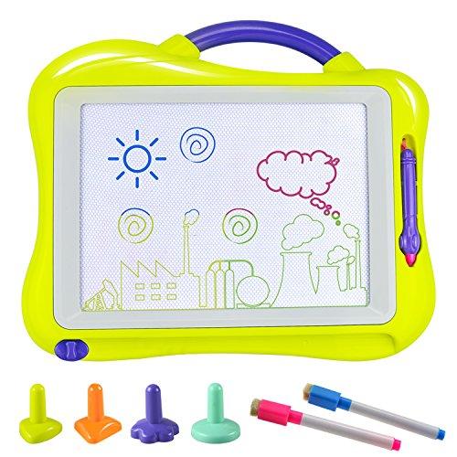 Tablero de Dibujo, Fixget Almohadilla Borrable Infantil Tablero Pizarra Colorido con 2 Lápices de Dibujo Desarrollo Habilidades Regalo de Juguetes Niños