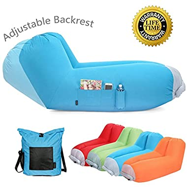 Inflatable air lounger Upgrade Adjustable Backrest Air Bed Sofa Perfect for Indoor Outdoor Hangout Air Chair Couch Hammock Lazy Bag for Beach Park Camping& Music Festivals