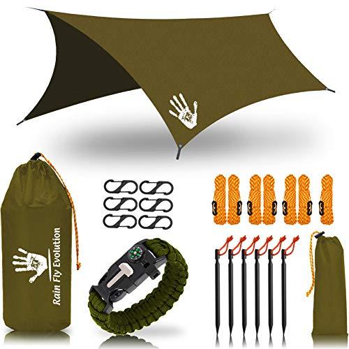 Rain Fly EVOLUTION 12 x 10 ft Camping Hammock RAIN Fly Waterproof Tent TARP & Survival Bracelet – Lightweight – Backpacker Approved – Diamond Ripstop – Perfect Hammock Shelter – OD-Green