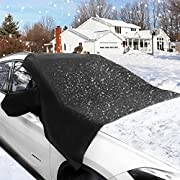 Windshield Snow Cover, Magnetic Windshield Cover for Snow and Ice Protector Reflective Warning Bar on Mirror Covers - Ice Frost and Wind Proof Car Cover Fit for Most Vehicle SUV Trucks Vans