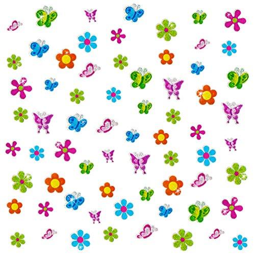 Oblique-Unique® - 68 x Glitzer Sticker Blumen & Schmetterlinge bunt - Regenbogen Sticker für Kinder