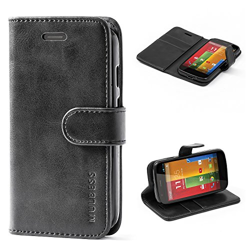Mulbess Handyhülle für Moto G Hülle, Leder Flip Case Schutzhülle für Motorola Moto G Tasche, Schwarz