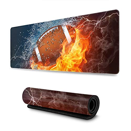 American Football Ball in Fire and Water Gaming Mouse Pad, Long Extended XL Mousepad Desk Pad, Large Non Slip Rubber Mice Pads Stitched Edges, 31.5'' X 11.8''